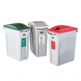 Slim Jim Recycling Containers - 60.1L Capacity - H.632 L.279 W.588 - Set of 3 (Plastic, Glass and General Waste)