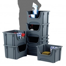 Space Bin Containers - Pack of 5 - Ext Dimensions: 320H x 495W x 390Dmm - Int Dimensions: 320H x 440W x 340Dmm - Dark Grey