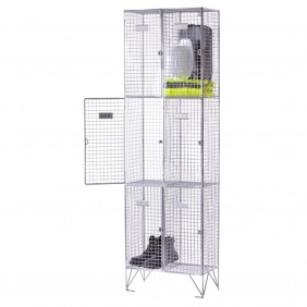 Wire Mesh Locker - 3 Compartment - Nest of 2 - H.1980 W.602 D.305